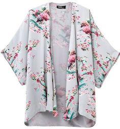 Vintage Retro Floral Kimono Cardigan/Plus Size Womens Kimono/Kimono Cover Up