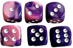 Custom & Unique {Standard Medium 16mm} 6 Ct Pack Set of 6 Sided [D6] Square Cube Shape Playing & Game Dice w/ Rounded Corner Edges w/ Swirl Pearl Agate Stone Two Tone Design [Pink, Purple & White]