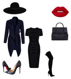 """""""Navy and black"""" by theglamcorridor ❤ liked on Polyvore featuring McQ by Alexander McQueen, Christian Louboutin, Lime Crime, Versace and Maison Michel"""