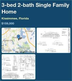 3-bed 2-bath Single Family Home in Kissimmee, Florida ►$159,000 #PropertyForSale #RealEstate #Florida http://florida-magic.com/properties/2031-single-family-home-for-sale-in-kissimmee-florida-with-3-bedroom-2-bathroom