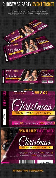 Crush Nightclub - Event Double Sided Entry Ticket Designed by - christmas party ticket template free