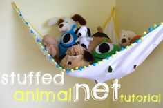 Make a hammock to keep your kids soft toys in.from A Lemon Squeezy Home