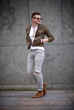 Shop this look for $303:  http://lookastic.com/men/looks/white-longsleeve-shirt-and-grey-skinny-jeans-and-tobacco-desert-boots-and-dark-brown-jacket/3346  — White Longsleeve Shirt  — Grey Ripped Skinny Jeans  — Tobacco Suede Desert Boots  — Dark Brown Suede Jacket