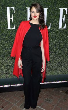 Shailene Woodley from ELLE Women in Television 2017: Best Looks The Divergent and Big Little Lies star adds a pop of color to her all-black ensemble.