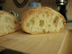Pin Review: Ciabatta Bread recipe: Holy crap this is the BEST bread I have ever made.  I've had issues with other artisan breads because the crust is so dang hard and I want something my 19 mo old can chew.  This is *perfect* literally made 2 batches less than 48 hours of each other because we ate it so fast.  I have 2 loaves in the freezer right now.