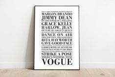 Vogue Lyrics Madonna Strike a Pose Song Typography A3 A4 | Etsy