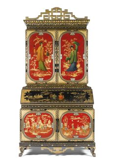 An Italian Chinoserie Lacquered And Parcel-Gilt Bureau Cabinet by Luigi Zampini and dated 1861, Florentine
