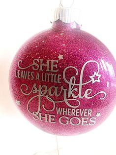 Items similar to Car Window Decal - Vinyl Decals - She Leaves a Little Sparkle Wherever She Goes - Car Decal - Tumbler Decal - Over 20 Colors Available on Etsy Vinyl Christmas Ornaments, Glitter Ornaments, Ornament Crafts, Christmas Tree Ornaments, Christmas Fun, Christmas Decorations, Ball Ornaments, Xmas, Holiday Fun
