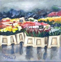 Spring In The Air - Bright and Colorful Small Original Oil Painting of Flowers Oil Painting On Canvas, Painting Frames, Canvas Board, Small Paintings, Vibrant, Bright, Colorful, The Originals, Spring