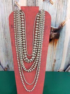 Multi Strand Silver Necklace - NEK361SI