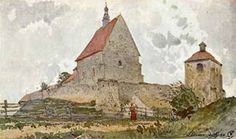Gerson, A Village Church Writing Art, Town And Country, Old English, 19th Century, Polish, Fine Art, Architecture, World, Painters