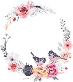 Dreamlike Watercolor Flower And Bird Wreath PNG Transparent Flower Background Wallpaper, Flower Backgrounds, Logo Mano, Molduras Vintage, Tableau Design, Instagram Frame, Trendy Wallpaper, Vintage Birds, Instagram Highlight Icons