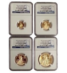2013-W 1.85 oz Gold Eagle NGC PF 70 Ultra Cameo 4-coin Set (Early Releases) | Bullion Exchanges