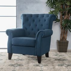 Noble House Merritt Dark Blue Fabric Tufted Club Chair 10760 - The Home Depot Blue Accent Chairs, Accent Chairs For Living Room, Club Chairs, Dining Chairs, Dining Room, Eames Chairs, Side Chairs, Sit Back And Relax, Snuggles