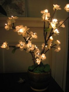 DIY LED cherry blossom branch now I might need some of those lighted branches Cherry Blossom Tree, Blossom Trees, Cherry Tree, Diy Wedding Inspiration, Bedroom Inspiration, Lighted Branches, Led Tree, Flower Lights, Flower Lamp