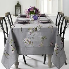 Mode Living Positano Tablecloth, x Home - Dining & Entertaining - Table Linens - Table Cloths - Bloomingdale's Home Tex, Entertainment Table, Linen Placemats, Floral Tablecloth, Tablecloth Ideas, Weathered Wood, Positano, Table Covers, Table Linens