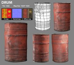 This is an Ingame lowpoly model of a Metal Drum modeled in Maya. Have used zbrush for the sculpt. I have tried for PBR texturing method for this asset. Maya Modeling, Modeling Tips, 3d Texture, Metal Texture, Blender 3d, Game Textures, Hand Painted Textures, Metal Drum, Game Props