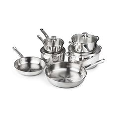 FortheChef 10 Piece Stainless Steel Cookware Set with Tempered Glass Lids  Stainless Steel Handles  Knobs *** More info @