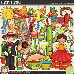 'Fiesta Fiesta!' Fiesta and Cinco de Mayo digital scrapbook elements / cute festival clip art! Hand-drawn doodles and illustrations for digital scrapbooking, crafting and teaching resources from Kate Hadfield Designs.
