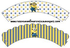 Making My Party!: Minions (Despicable Me - Complete Kit with frames for invitations, labels for goodies, souvenirs and pictures! Minion Cupcakes, Cupcakes Minecraft, Minion Cupcake Toppers, Cupcake Wrappers, Minion Baby, Minion Birthday, Boy Birthday, Birthday Parties, Birthday Ideas