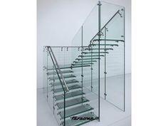 Escalera abierta de acero inoxidable y vidrio MATHIS