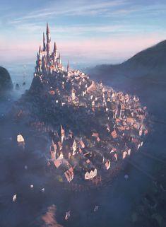 Fantasy World Map, Fantasy City, Fantasy Castle, Fantasy Places, Dark Fantasy Art, Fantasy Artwork, Fantasy Art Landscapes, Fantasy Landscape, Image Painting