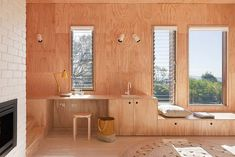 sperrholz innenausbau wandpaneele möbel buche fenstersitzbank
