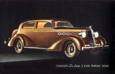 Plymouth DeLuxe 2 Door Touring Sedan 1935 | Mad Men Art | Vintage Ad Art Collection