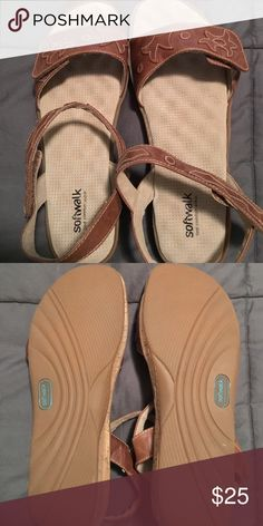 Brown Sandals Brown Softwalk sandals.  Velcro straps across top and ankle.  Never worn.  12WW Softwalk Shoes Sandals