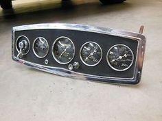 Vintage Stewart Warner 5 Gauge Panel Instrument Cluster SW Tach RPM Hot Rod Scta