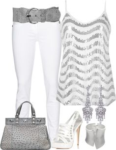 I could never pull off white pants . They stain too easy. Yes to grey. The rest though, hello!  BKE Sequin Tank Top