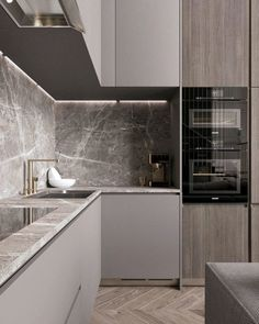 86 modern luxury kitchen design ideas that will inspire you ~ House Design Ideas Kitchen Room Design, Luxury Kitchen Design, Home Decor Kitchen, Kitchen Layout, Interior Design Kitchen, Kitchen Cart, Modern Small Kitchen Design, Kitchen Storage, Kitchen Grey