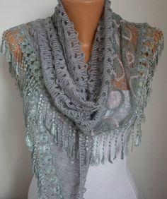 Lace Scarf   scarf shawl    Silvery  Free scarf  Gray  by anils, $19.90