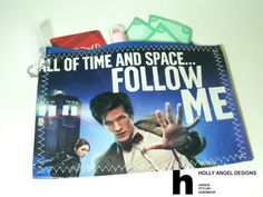 Doctor Who and Amy Pond, Tardis  Vinyl Zipper Pouch / Purse Organizer - Upcycled Awesome Fan Art :). $10.00, via Etsy.