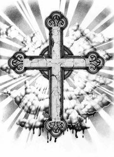 tattoo vorlage - griechisch orthodoxes kreuz mit gekreuzigtem jesus, mit fahne/jesus und nur das kreuz alleinstehend.