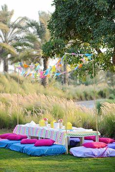 Glamping Themed Birthday Party via Kara's Party Ideas : Party Area Set Up