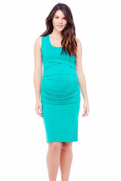 Ingrid & Isabel Pleated Tank Maternity Dress in Turquoise
