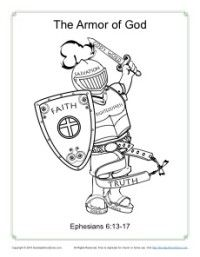 Armor Of God Coloring Page For Kids And Bible Lesson To Go With It