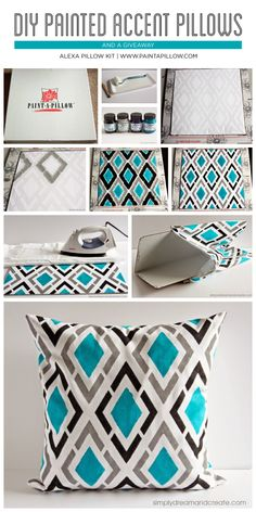 How to stencil DIY accent pillows using the Paint-A-Pillow kit. http://paintapillow.com/index.php/alexa-paint-a-pillow-kit.html