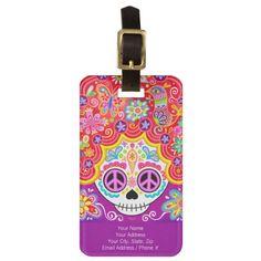 Sugar Skull Girl Luggage Tag - Customize it!
