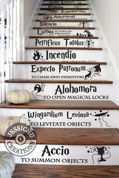 Harry potter spells stairs vinyl decal - home decor, jk rowling, hogwarts, slytherin Harry Potter Diy, Estilo Harry Potter, Harry Potter Bedroom, Mundo Harry Potter, Harry Potter Quotes, Harry Potter Fandom, Harry Potter Spells List, Harry Potter Things, Harry Potter Alphabet