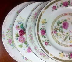 4 MISMATCHED CHINA DINNER Plates Weddings, Bridal Shower, Tea Party, Shabby Chic…