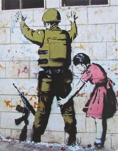 This is a Banksy Soldier Pat Down poster reproduction. It measures x in size and ships rolled. Another awesome awesome piece of art from Banksy. What message does it convey to you? Banksy Graffiti, Street Art Banksy, Murals Street Art, 3d Street Art, Arte Banksy, Amazing Street Art, Street Artists, Bansky, Urban Graffiti
