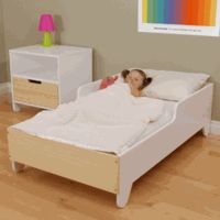 "Hiya Toddler Bed - $550  53.5""L 29.5""W 16""H  MDF and Birch 10-Ply."