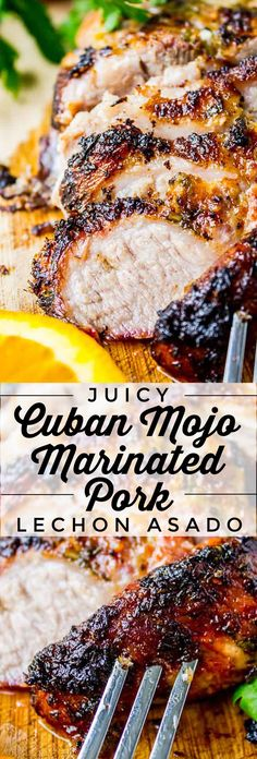 A traditional Cuban roasted pork recipe that is very simple, yet packed with tons of flavor! Pork Roast Recipes, Pork Tenderloin Recipes, Meat Recipes, Mexican Food Recipes, Cooking Recipes, Roast Brisket, Game Recipes, Beef Tenderloin, Marinade For Pork Roast