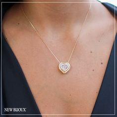 Colar Coração Desmontável Cravejado Folheado a Ouro 18k - New Bijoux 6fe9cb5966
