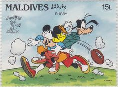 "Mickey, Donald y Goofy jugando Rugby ""World Stamp Expo '90"" 12/06/1905 Maldivas Mickey Mouse Art, Cartoon Tv, Maldives, Postage Stamps, Rugby, Pixar, Walt Disney, Disney Characters, Fictional Characters"