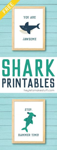 Download and print this adorable shark printables! You'll love these deliciously funny puns as much as the totally modern sharks -- perfect for Shark Week! Adorable decor for a little boy's room! #shark #homedecor