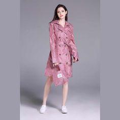 Freesmily Women Colored Grid Stylish Rain Poncho Waterproof Rain Jacket Coat with Waistband and Hood Poncho Raincoat, Rain Poncho, Waterproof Poncho, Waterproof Rain Jacket, Rain Wear, Stylish, Grid, Hiking, Age