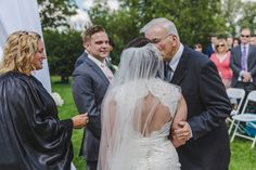 Just love this sweet moment with the bride's father giving the bride away! At Rotary Park in Calgary. By Calgary wedding photographer Anna Michalska Photography. Calgary Wedding Venues, Outdoor Wedding Venues, Restaurant Wedding, Nontraditional Wedding, Pink Accents, Rotary, Wedding Portraits, Photographers, Anna
